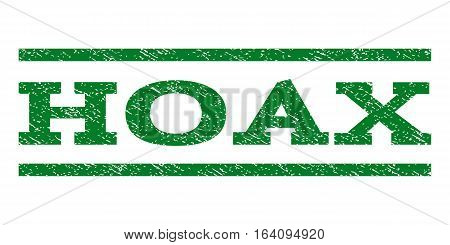 Hoax watermark stamp. Text tag between horizontal parallel lines with grunge design style. Rubber seal green stamp with dust texture. Vector ink imprint on a white background.