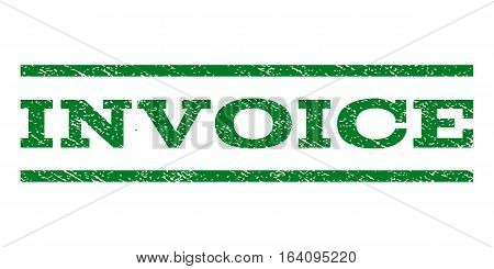 Invoice watermark stamp. Text caption between horizontal parallel lines with grunge design style. Rubber seal green stamp with scratched texture. Vector ink imprint on a white background.