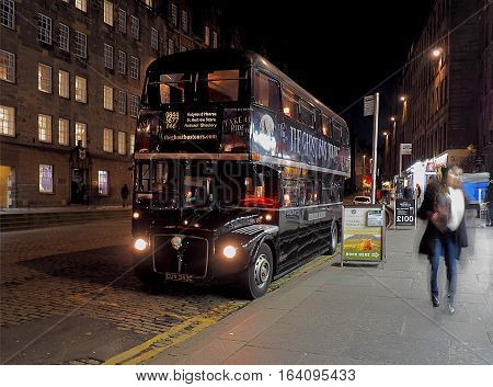 Bus from Edinburgh. Edinburgh, Scotland - December 19, 2016 Double decker bus at the bus stop in Edinburgh.