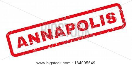Annapolis text rubber seal stamp watermark. Caption inside rounded rectangular banner with grunge design and dirty texture. Slanted glyph red ink sticker on a white background.