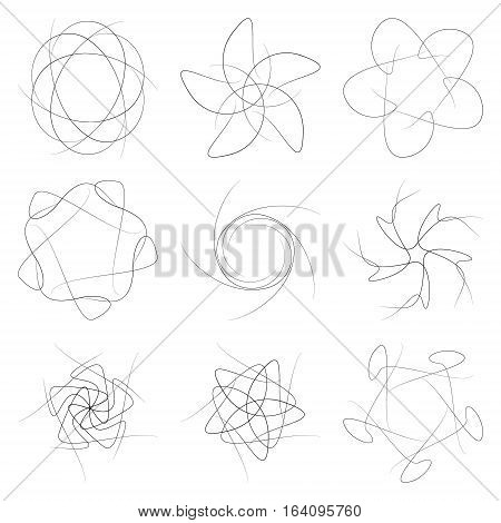 A set of patterns on a white background. Decorative patterns for schematic symbols and infographics.