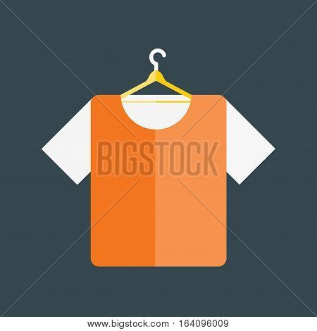 Cartoon fashion color shirt advertisement. Clothing textile wear adult space design concept. Front view blank dress flat vector illustration.