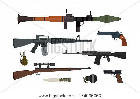 Weapons vector guns collection. Pistols, submachine, assault rifles sniper, knife, grenade icons. Violence firearm police ammunition illustration isolated.