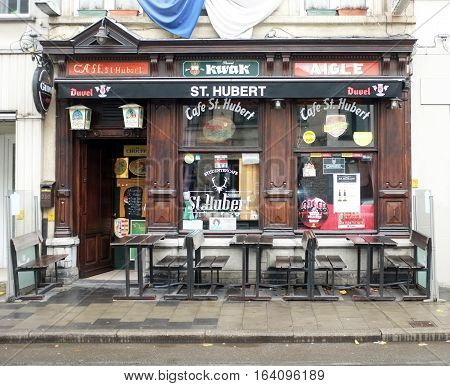 Ghent, Belgium - 17 December, 2017: Front view of a traditional Belgian pub in Ghent, Belgium