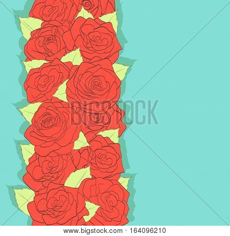 background in retro style. Using the old colors. Red roses and green leaves. antiquity