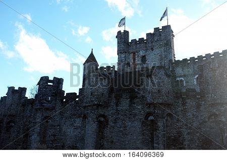 Gravensteen castle in Ghent under the blue sky