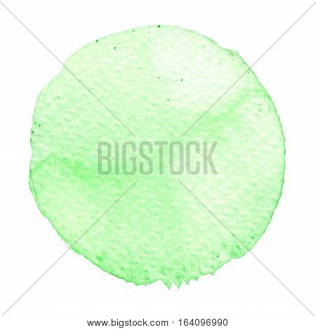 Green Watercolor Circle. Stain With Paper Texture.