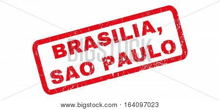 Brasilia Sao Paulo text rubber seal stamp watermark. Tag inside rounded rectangular shape with grunge design and scratched texture. Slanted glyph red ink sign on a white background.