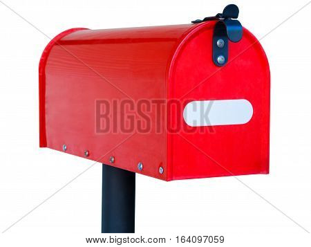 red mailbox isolated on white background. old.