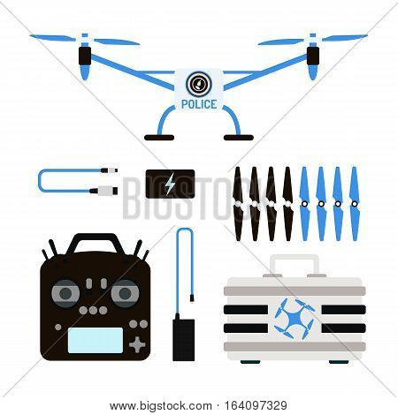 Vector illustration aerial vehicle drone quadcopter surveillance unmanned innovation. Air drone hovering wireless tool. Remote control fly camera.