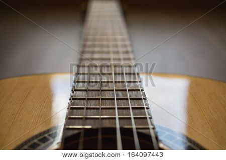 Guitar strings closeup, stringed musical instrument, macro