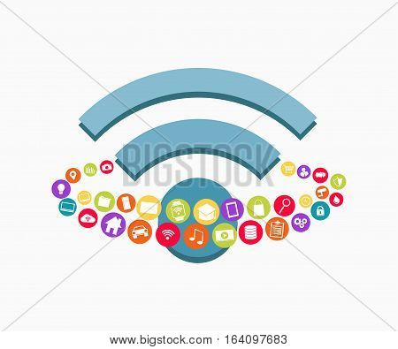Wireless communication concept. Wireless connection concept symbol.