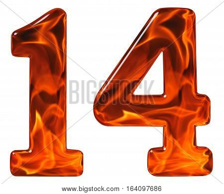 14, Fourteen, Numeral From Glass With An Abstract Pattern Of A Flaming Fire, Isolated On White Backg