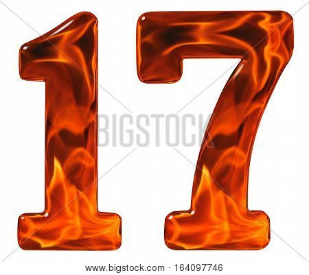 17, Seventeen, Numeral From Glass With An Abstract Pattern Of A Flaming Fire, Isolated On White Back