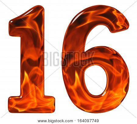 16, Sixteen, Numeral From Glass With An Abstract Pattern Of A Flaming Fire, Isolated On White Backgr