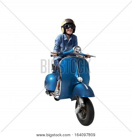 Beautiful Asian Woman Riding A Scooter With Helmet
