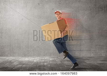 Running Asian Delivery Postman