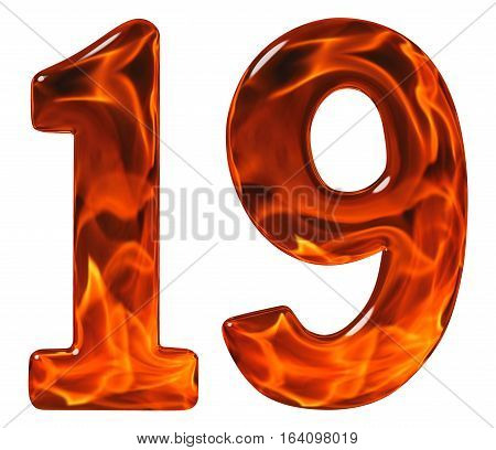 19, Nineteen, Numeral From Glass With An Abstract Pattern Of A Flaming Fire, Isolated On White Backg