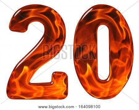 20, Twenty, Numeral From Glass With An Abstract Pattern Of A Flaming Fire, Isolated On White Backgro