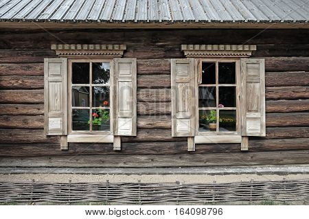 TARKHANI RUSSIA - AUGUST 28 2016: Facade of steward house in the Lermontov estate Tarkhany