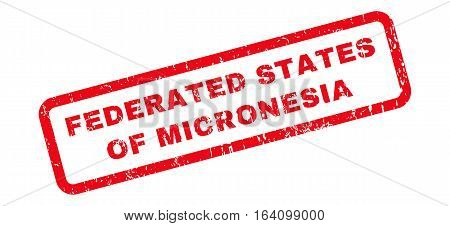 Federated States Of Micronesia text rubber seal stamp watermark. Tag inside rounded rectangular shape with grunge design and unclean texture. Slanted glyph red ink sticker on a white background.