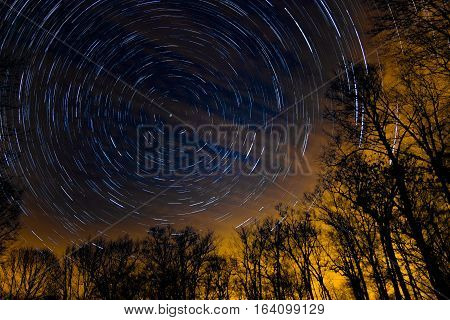 Star Trail in Northern Wisconsin Scenic Background