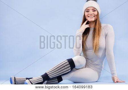 Woman In Thermal Underwear Top Ang Leggings