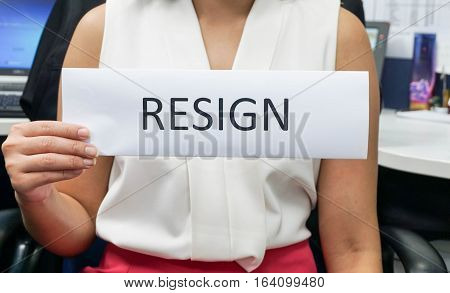 business woman with white shirt quit from the job