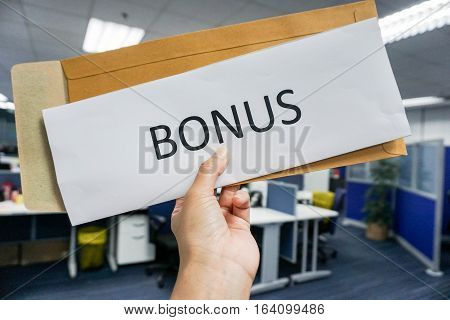 business concept of the employee yearly bonus