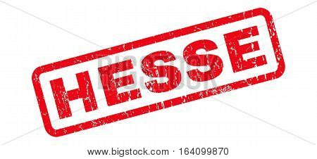 Hesse text rubber seal stamp watermark. Tag inside rounded rectangular banner with grunge design and unclean texture. Slanted glyph red ink sign on a white background.