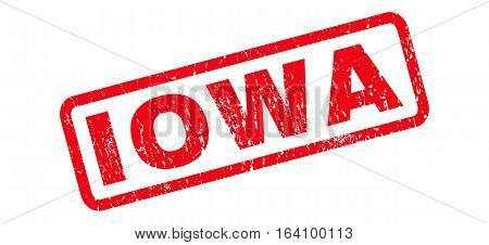 Iowa text rubber seal stamp watermark. Caption inside rounded rectangular shape with grunge design and dust texture. Slanted glyph red ink emblem on a white background.