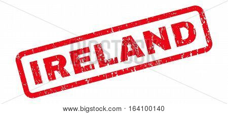 Ireland text rubber seal stamp watermark. Caption inside rounded rectangular banner with grunge design and unclean texture. Slanted glyph red ink sticker on a white background.