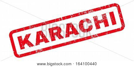 Karachi text rubber seal stamp watermark. Caption inside rounded rectangular banner with grunge design and dirty texture. Slanted glyph red ink sign on a white background.