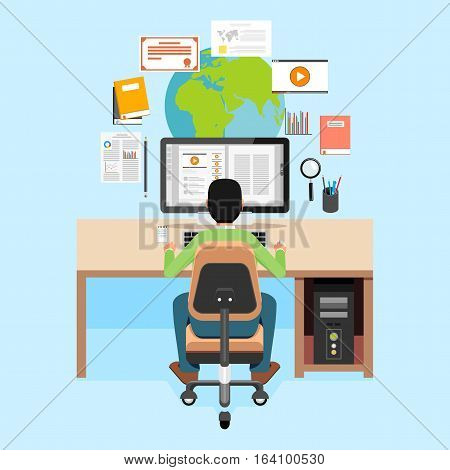 Student learning or studying on laptop. E-learning concept. Flat design.