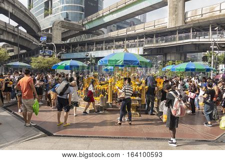 BANGKOK THAILAND - DEC 31 : view of worship inside Erawan shrine while new year festival on december 31 2016 Thailand. Erawan shrine is famously place in ratchaprasong area