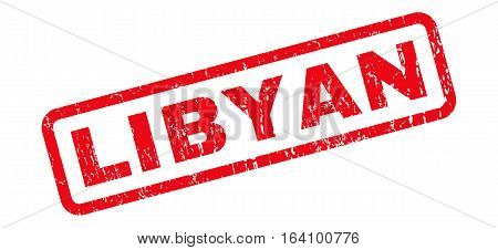 Libyan text rubber seal stamp watermark. Caption inside rounded rectangular shape with grunge design and dirty texture. Slanted glyph red ink sticker on a white background.