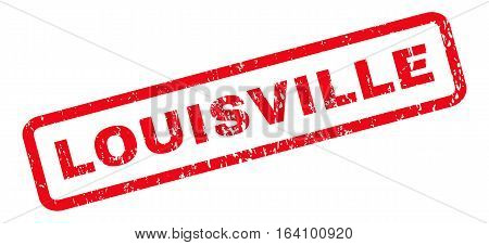 Louisville text rubber seal stamp watermark. Tag inside rounded rectangular banner with grunge design and scratched texture. Slanted glyph red ink sticker on a white background.