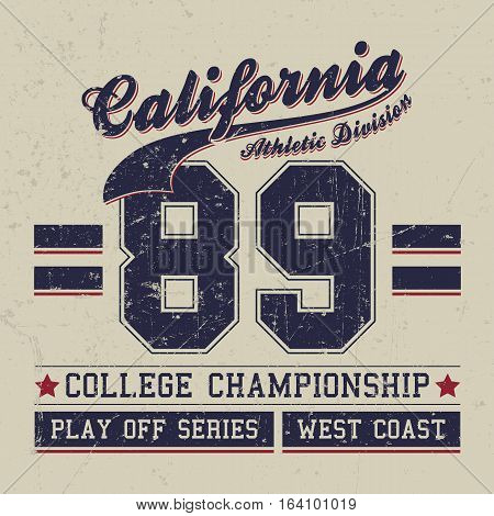 Vintage Sport Wear California T-shirt Design, Athletics Typography. Easy to manipulate, re-size or colorize.