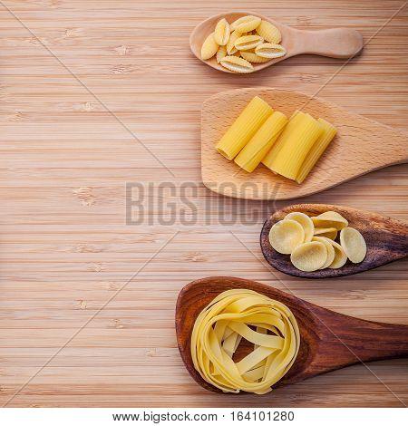 Italian Foods Concept And Menu Design . Various Kind Of Pasta Fettuccine ,rigatoni ,gnocco Sardo And