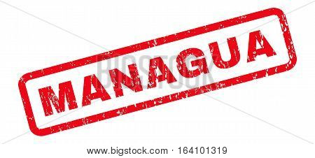 Managua text rubber seal stamp watermark. Caption inside rounded rectangular banner with grunge design and scratched texture. Slanted glyph red ink sticker on a white background.