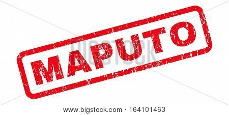 Maputo text rubber seal stamp watermark. Tag inside rounded rectangular banner with grunge design and scratched texture. Slanted glyph red ink sign on a white background.
