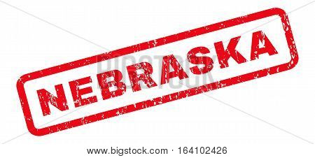 Nebraska text rubber seal stamp watermark. Tag inside rounded rectangular banner with grunge design and dust texture. Slanted glyph red ink sign on a white background.