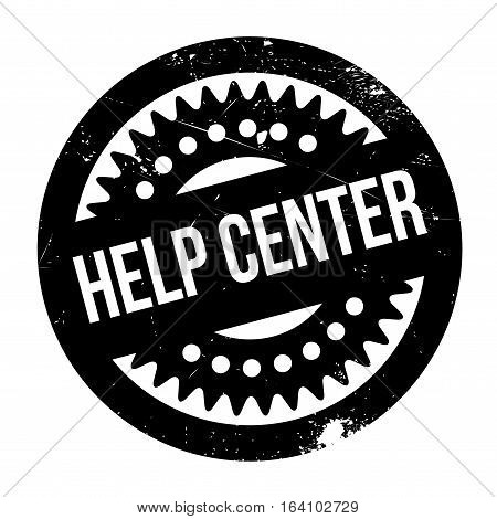 Help Center rubber stamp. Grunge design with dust scratches. Effects can be easily removed for a clean, crisp look. Color is easily changed.