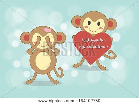 Monkey boy holding red heart with words will you be my valentine for surprise his friend vector illustration design Love concept