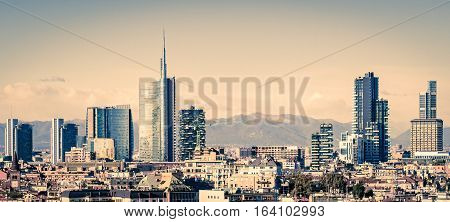 Milano (Italy) skyline with new skyscrapers business district