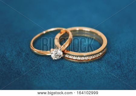 Two beautiful wedding rings with brilliants close up