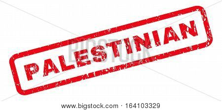 Palestinian text rubber seal stamp watermark. Tag inside rounded rectangular shape with grunge design and dust texture. Slanted glyph red ink emblem on a white background.