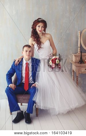 Wedding. Young happy bride and groom together. Marriage concept