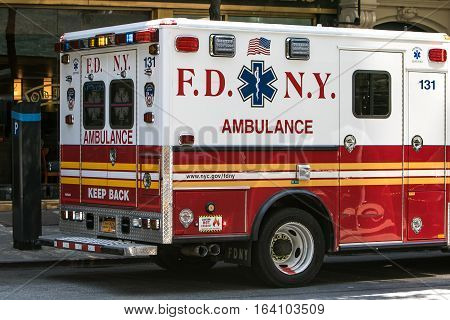 New York, June 25, 2016: An ambulance is seen in a street of New York City.