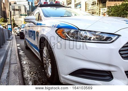 New York, September 10, 2016: A police vehicle is parked in the street.